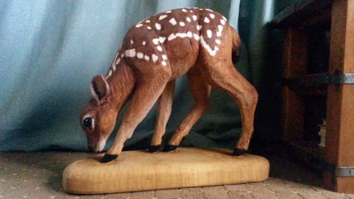 Chainsaw Sculpture Galleries | Young fawn chainsaw carved and painted