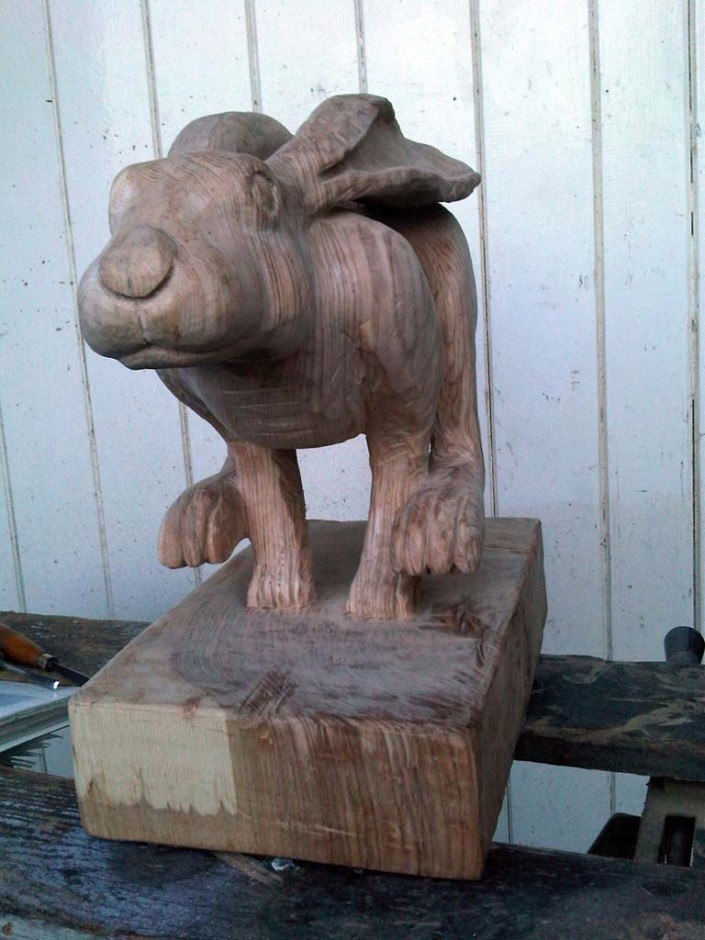 Chainsaw Sculpture Galleries | Run Free hare finsihed pre-oil