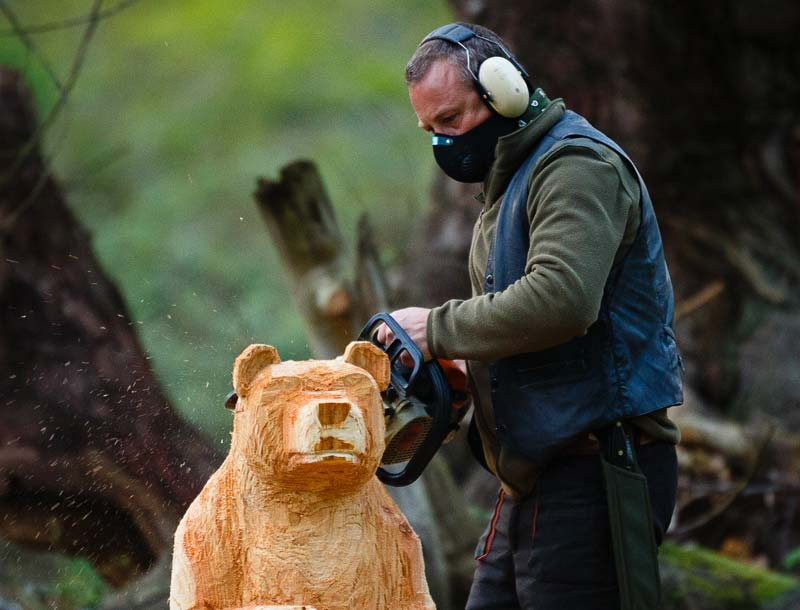 Shaun Gilbert artist and sculptor at work carving a chainsaw wooden bear near Norwich