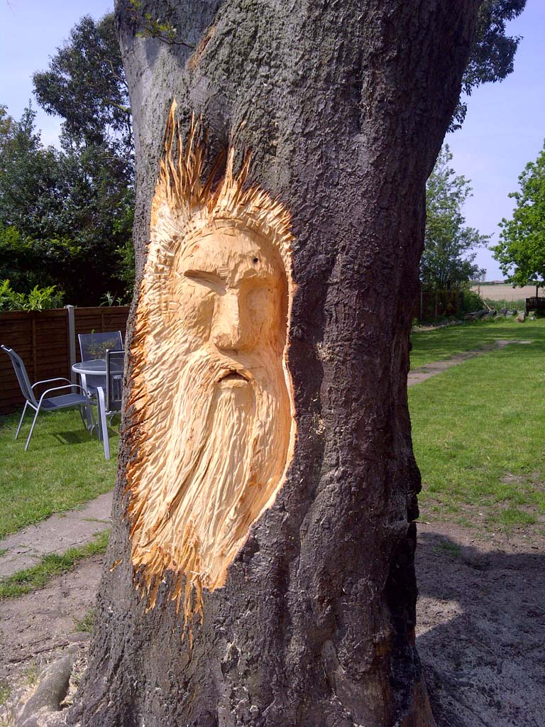 Chainsaw Carvings Gallery | Wood spirit in progress