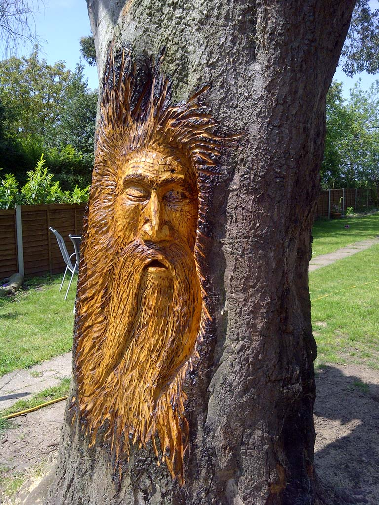 Chainsaw Carvings Gallery | Wood spirit finished in protective oil