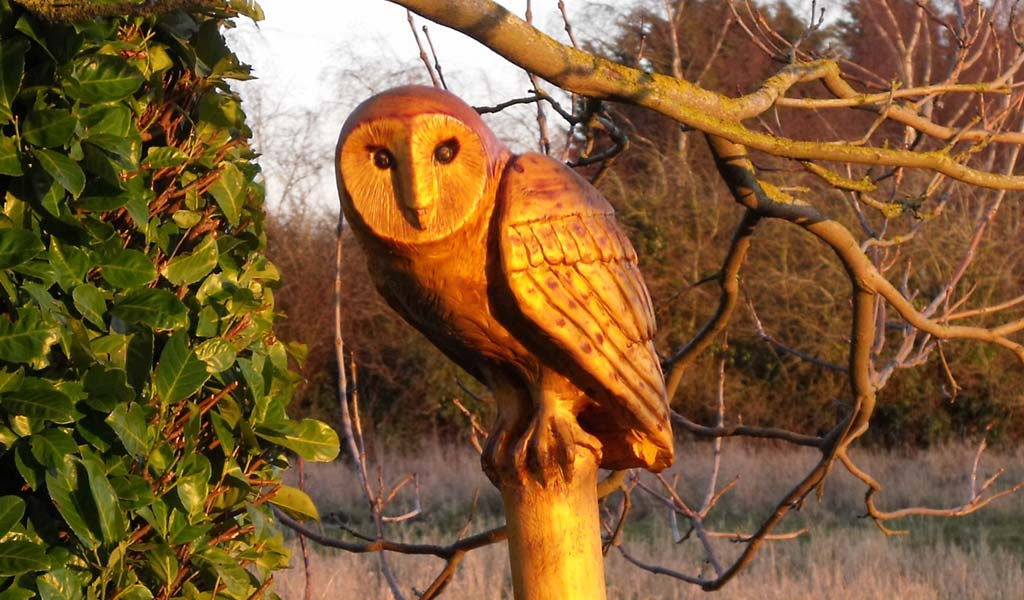 Chainsaw carved barn owl perched on a post